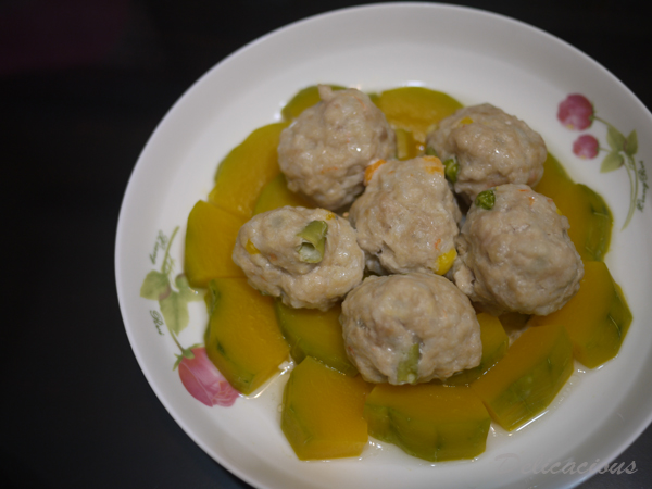 steamed pumpkin meatballs