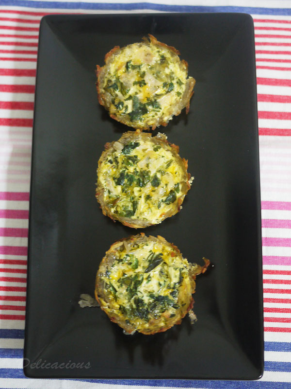 Potato Crusted Spinach and Ham Quiche