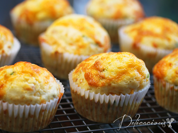 bacon cheese and scallions muffins
