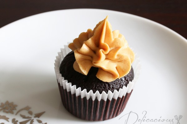 Chocolate Ganache-filled cupcakes with Peanut Butter Buttercream